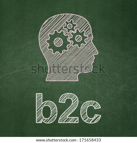 Business concept: Head With Gears icon and text B2c on Green chalkboard background, 3d render - stock photo