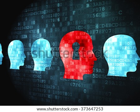 Business concept: Head With Keyhole on digital background - stock photo