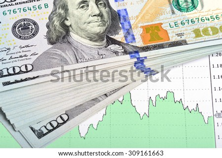 Business concept. Heap of dollar bills on paper background with business chart - stock photo
