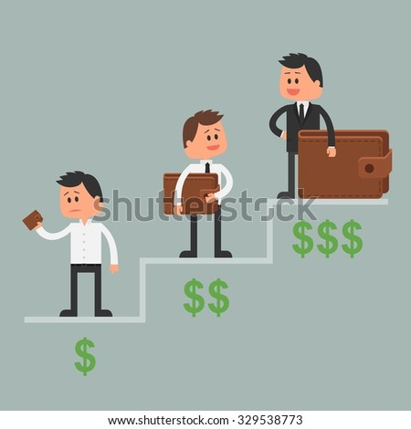 Business concept illustration in flat style. Money investment concept. Dollar symbols and wallet. Cartoon businessman get rich and move up - stock photo