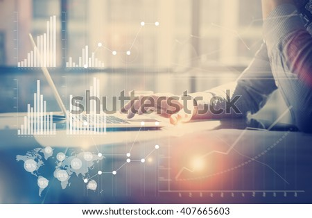 Business concept image.Businessman working investment project modern office.Touching pad contemporary laptop. Worldwide connection technology,stock exchanges graphics interface. Horizontal - stock photo