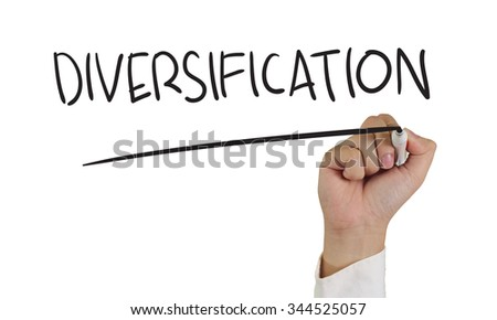 Business concept image of a hand holding marker and write Diversification Word isolated on white - stock photo