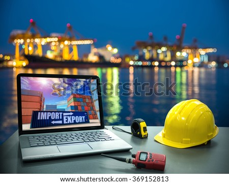 Business concept, industry. Laptop desk on with Industrial Container Cargo freight ship for Logistic Import Export background - stock photo