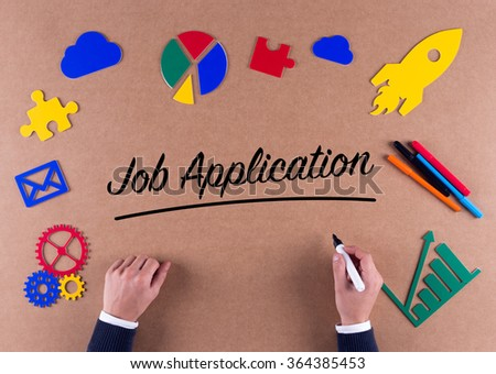 Business Concept-Job Application word with colorful icons - stock photo