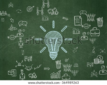 Business concept: Light Bulb on School Board background - stock photo
