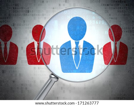 Business concept: magnifying optical glass with Business Man icons on digital background, 3d render - stock photo
