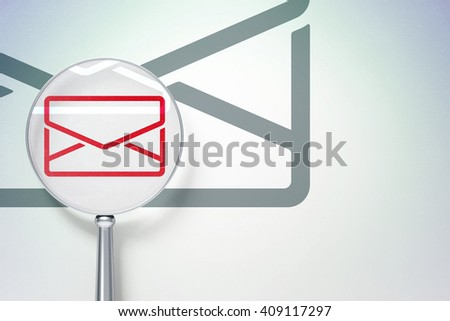 Business concept: magnifying optical glass with Email icon on digital background, empty copyspace for card, text, advertising, 3D rendering - stock photo