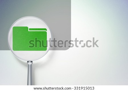 Business concept: magnifying optical glass with Folder icon on digital background, empty copyspace for card, text, advertising - stock photo