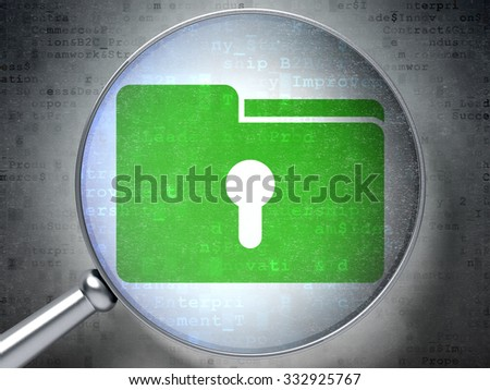 Business concept: magnifying optical glass with Folder With Keyhole icon on digital background - stock photo