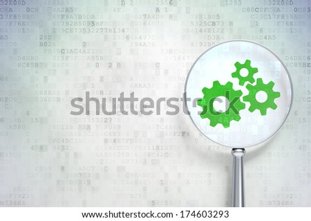 Business concept: magnifying optical glass with Gears icon on digital background, empty copyspace for card, text, advertising, 3d render - stock photo