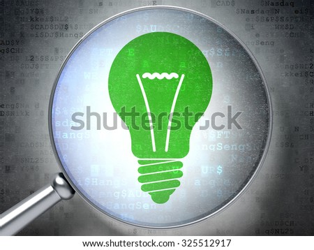 Business concept: magnifying optical glass with Light Bulb icon on digital background - stock photo