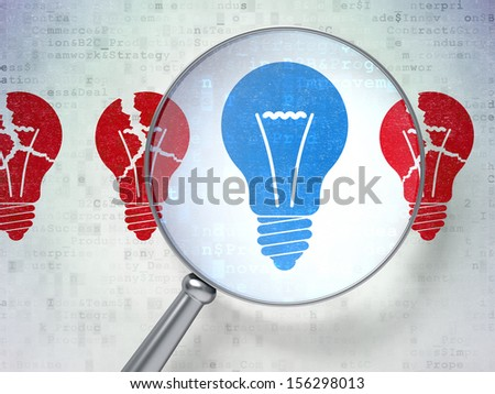 Business concept: magnifying optical glass with Lightbulb icons on digital background, 3d render - stock photo