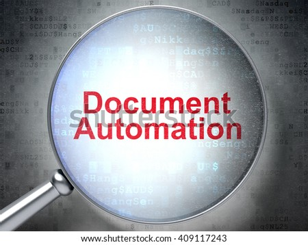 Business concept: magnifying optical glass with words Document Automation on digital background, 3D rendering - stock photo