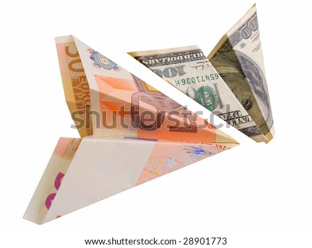business concept. money plane on white background - stock photo