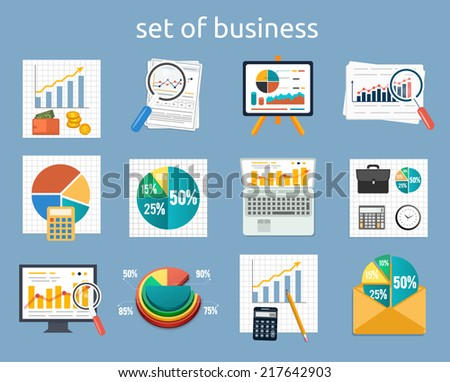 Business concept of analytics. Stand with charts and parameters. Set of various financial service items, business management symbol, marketing items and office equipment. Raster version - stock photo