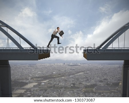 Business concept of businessman overcome the problems - stock photo