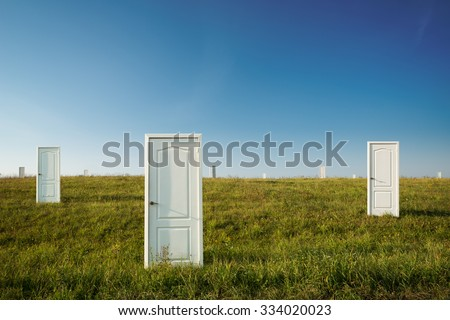 Business concept of choice: many doors in a field - stock photo
