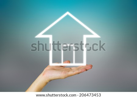 Business concept of real estate on dark background. - stock photo