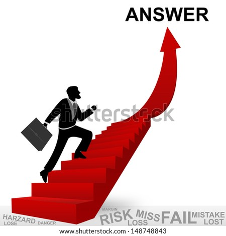 Business Concept of Step for Success Present By The Businessman Step Up to Top of Answer Arrow Isolated on White Background - stock photo