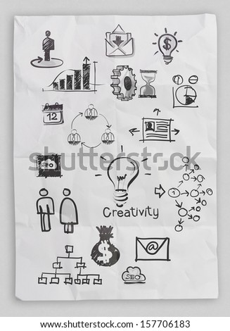 business concept on crumpled paper and sticky note background  - stock photo
