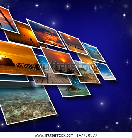 Business concept on Dark blue sky background. - stock photo