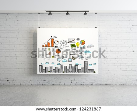 business concept on poster in brick room - stock photo