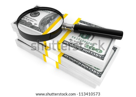 Business concept. One hundred dollars and Magnifying glass on a white background - stock photo