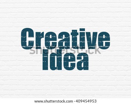 Business concept: Painted blue text Creative Idea on White Brick wall background - stock photo
