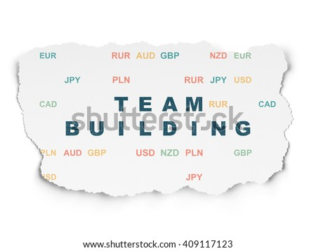 Business concept: Painted blue text Team Building on Torn Paper background with  Currency - stock photo