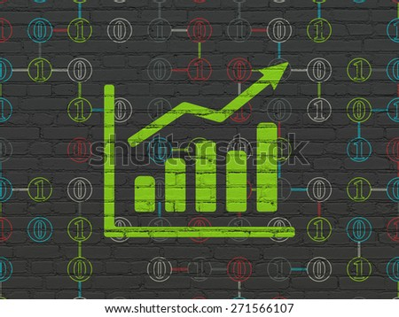 Business concept: Painted green Growth Graph icon on Black Brick wall background with Scheme Of Binary Code, 3d render - stock photo