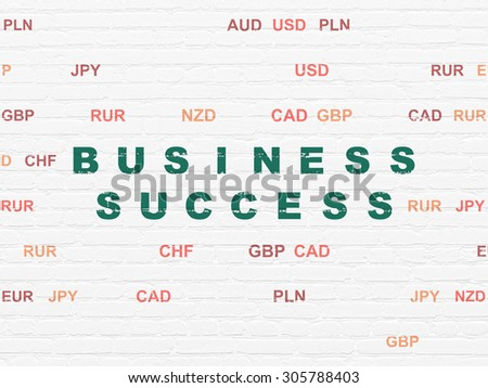 Business concept: Painted green text Business Success on White Brick wall background with Currency, 3d render - stock photo