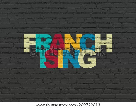 Business concept: Painted multicolor text Franchising on Black Brick wall background, 3d render - stock photo