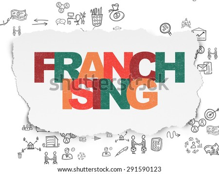 Business concept: Painted multicolor text Franchising on Torn Paper background with Scheme Of Hand Drawn Business Icons, 3d render - stock photo