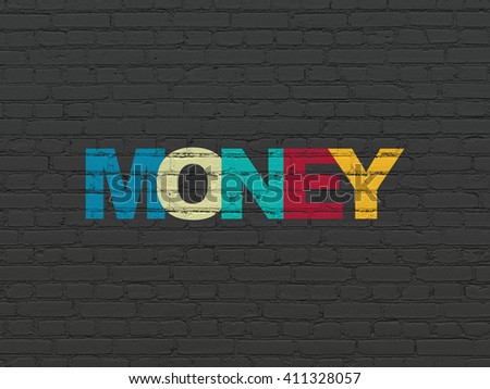 Business concept: Painted multicolor text Money on Black Brick wall background - stock photo