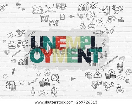 Business concept: Painted multicolor text Unemployment on White Brick wall background with Scheme Of Hand Drawn Business Icons, 3d render - stock photo
