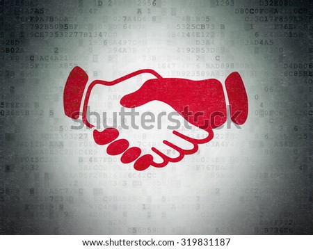 Business concept: Painted red Handshake icon on Digital Paper background - stock photo