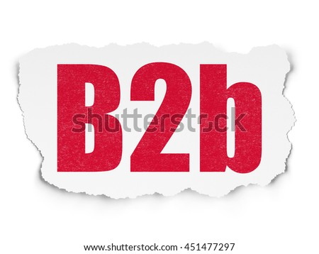Business concept: Painted red text B2b on Torn Paper background with  Tag Cloud - stock photo