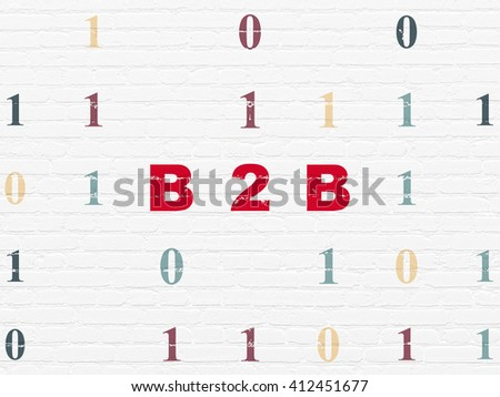 Business concept: Painted red text B2b on White Brick wall background with Binary Code - stock photo