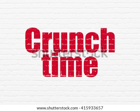 Business concept: Painted red text Crunch Time on White Brick wall background - stock photo