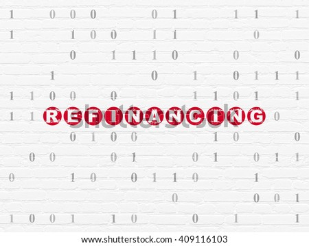 Business concept: Painted red text Refinancing on White Brick wall background with Binary Code - stock photo