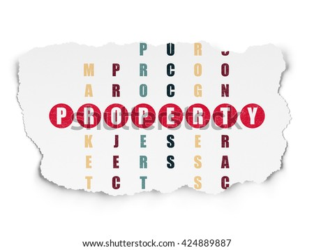 Business concept: Painted red word Property in solving Crossword Puzzle on Torn Paper background - stock photo