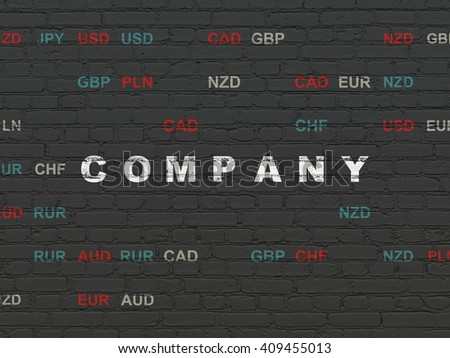 Business concept: Painted white text Company on Black Brick wall background with Currency - stock photo