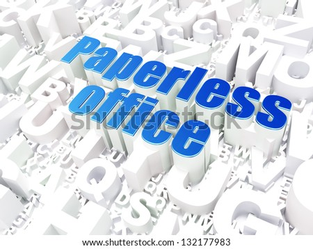 Business concept: Paperless Office on alphabet  background, 3d render - stock photo