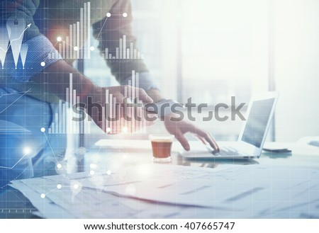 Business concept picture.Banker working new startup project modern office.Holding contemporary smartphone hands. Worldwide connection technology,stock exchanges graphics interface. Horizontal - stock photo
