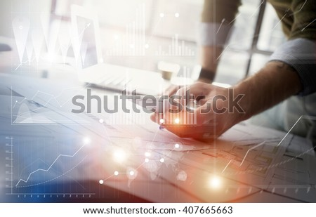 Business concept picture.Finance manager working new startup project modern office.Touching contemporary smartphone. Worldwide connection technology,stock exchanges graphics interface. Horizontal - stock photo