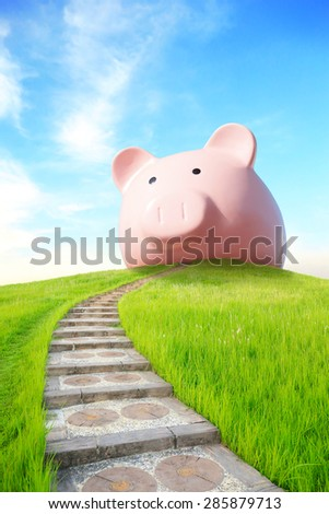 business concept - pink piggy bank  and up stairs with blue sky and sunshine - stock photo