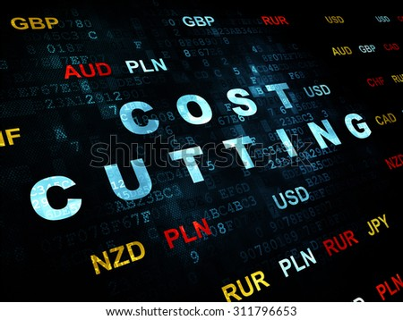 Business concept: Pixelated blue text Cost Cutting on Digital wall background with Currency - stock photo