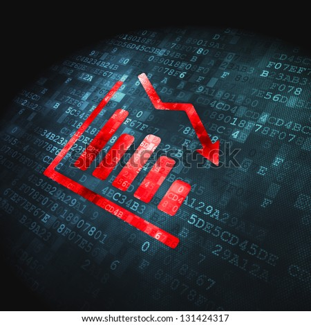 Business concept: pixelated Decline Graph icon on digital background, 3d render - stock photo