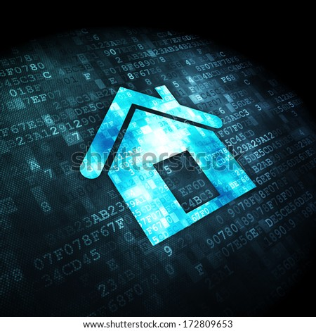 Business concept: pixelated Home icon on digital background, 3d render - stock photo
