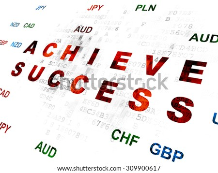 Business concept: Pixelated red text Achieve Success on Digital wall background with Currency - stock photo